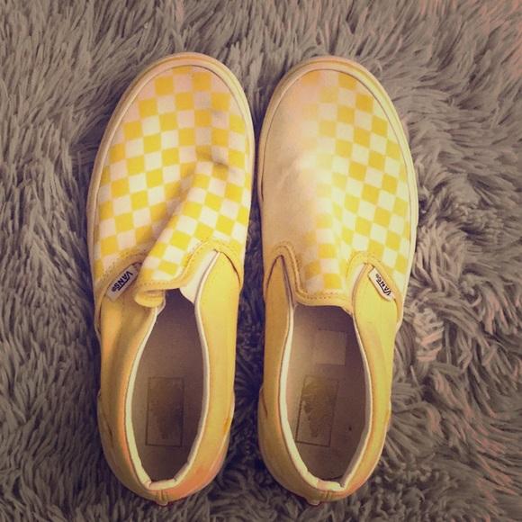 Yellow White Checkered Vans | Poshmark